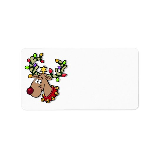 Cute Reindeer Customized Christmas Cards Label