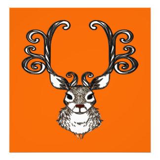 Cute Reindeer deer brown Canvas Print orange