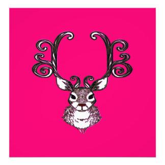 Cute Reindeer deer brown Canvas Print pink
