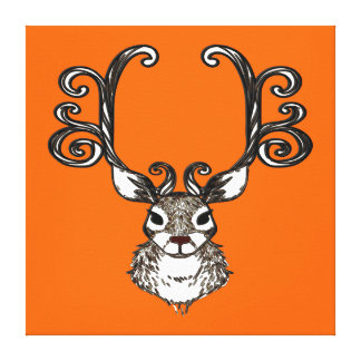 Cute Reindeer deer brown print art orange