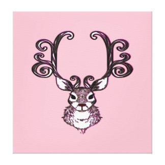 Cute Reindeer deer brown print art pink