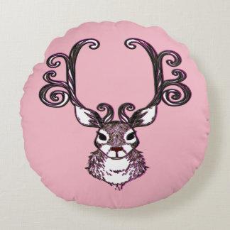 Cute Reindeer deer cottage pillow round pink