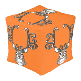 Cute Reindeer deer cottage  pouf pillow orange