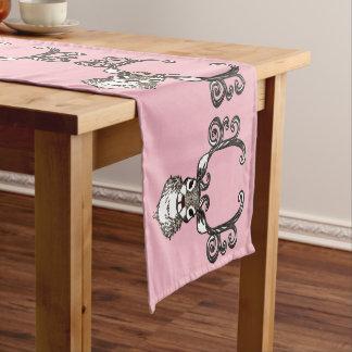 Cute Reindeer deer cottage table runner brown pink