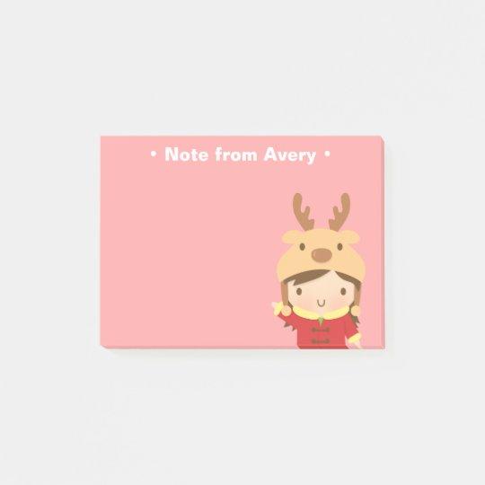 Cute Reindeer Girl Kids Christmas Fillers Post-it Notes