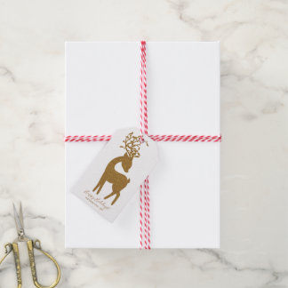 Cute Reindeer Gold Glitter Christmas Holiday Gift Tags