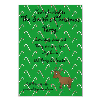 """Cute reindeer green candy canes 3.5"""" x 5"""" invitation card"""