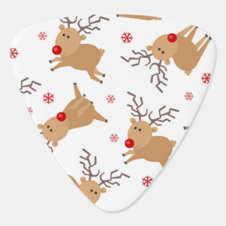 Cute Reindeer Holiday Pattern White Red Snowflake Guitar Pick
