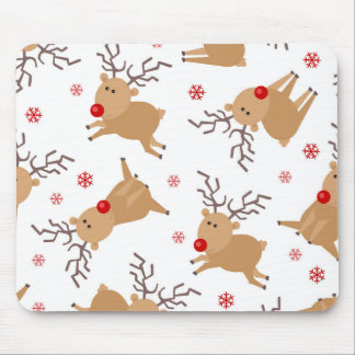 Cute Reindeer Holiday Pattern White Red Snowflake Mouse Pad