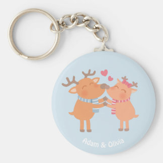 Cute Reindeer in Love Nose Nuzzle Keychain