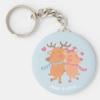 Cute Reindeer in Love Winter Romance Keychain