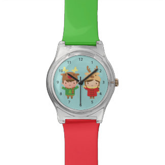 Cute Reindeer Kids Merry Christmas Watches
