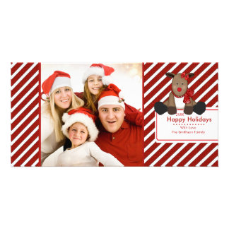 CUTE Reindeer Merry Christmas Family Photo Card