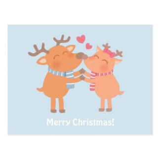 Cute Reindeer Nuzzle Noses Christmas Postcard