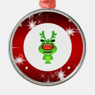 Cute reindeer round metal christmas ornament