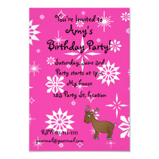 """Cute reindeer pink and white snowflakes 3.5"""" x 5"""" invitation card"""