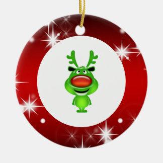 Cute reindeer round ceramic ornament