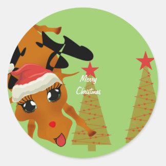 Cute Reindeer Round Sticker