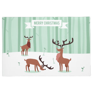 Cute Reindeers Christmas door mats