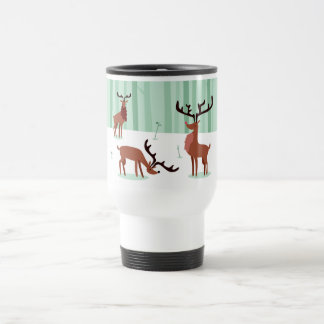 Cute Reindeers custom name travel mug