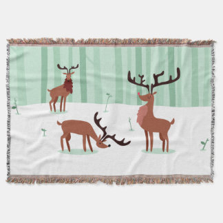 Cute Reindeers throw blanket