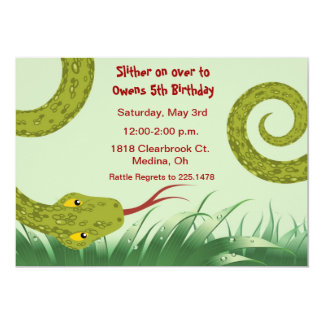 cute reptile birthday party invitation