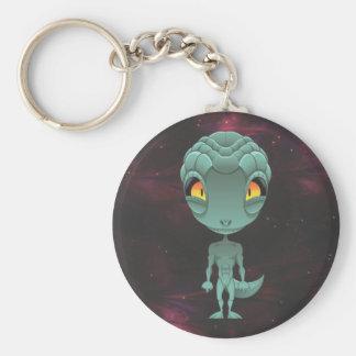 Cute Reptilian Alien Basic Round Button Keychain