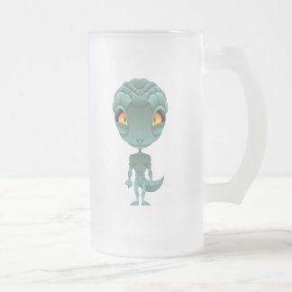 Cute Reptilian Alien Frosted Glass Beer Mug