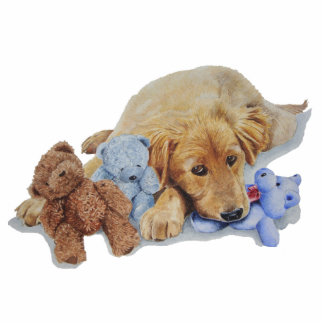Cute retriever puppy with teddy sculpture magnet photo cut out