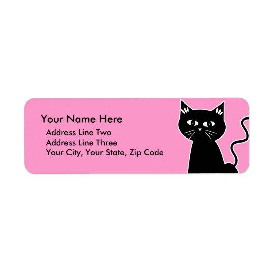 Cute Retro Black Cat Cartoon Drawing