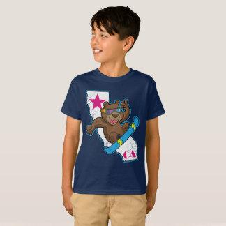 Cute Retro California Bear Snowboarder T-Shirt