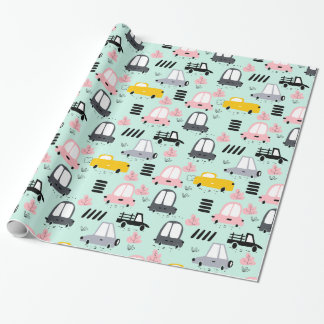 """Cute Retro Cars Glossy Wrapping Paper, 30"""" x 6' Wrapping Paper"""