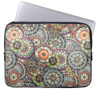 Cute Retro Chic Funky Floral Circles Art Pattern Laptop Sleeve