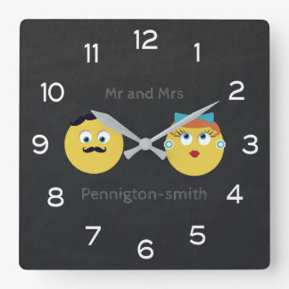 Cute Retro Emoji Married Couple for Newlyweds Wallclocks