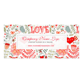 Cute Retro Floral Valentines Design Custom Rack Cards