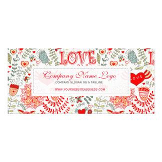 Cute Retro Floral Valentines Design Rack Card