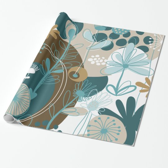 Cute Retro Floral Vector, Aqua Teal Brown Wrapping Paper