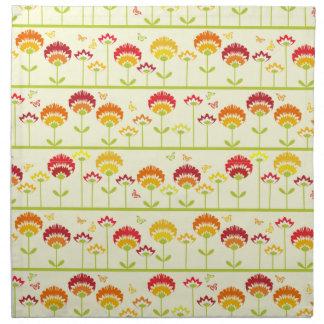 Cute retro flower garden ir orange napkin