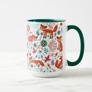 Cute Retro Flowers Birds & Red Foxes Pattern Mug
