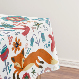 Cute Retro Flowers Foxes & Birds Pattern Tablecloth