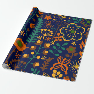 Cute Retro Flowers Seamless Patter Wrapping Paper