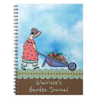 Cute Retro Girl Gardener - Personalized Note Books