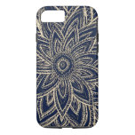 Cute Retro Gold abstract Flower Drawing on Black iPhone 7 Case