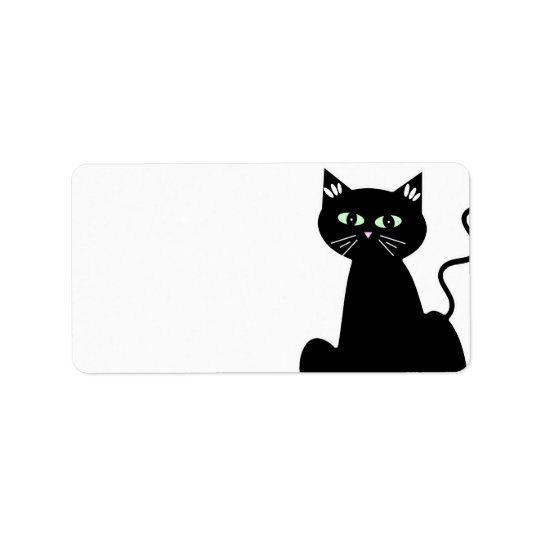 Cute Retro Green Eyed Black Cat Cartoon Label