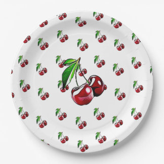 Cute Retro Like Cherry Party Paper Plates 9 Inch Paper Plate