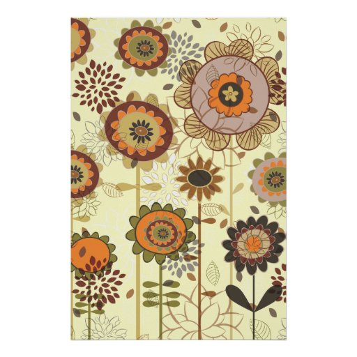 Cute retro orange, brown floral pattern custom poster
