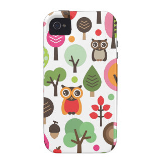 Cute retro owl and trees pattern iphone case case for the iPhone 4