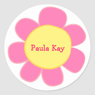 cute retro pink flower sticker