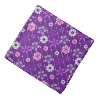 Cute retro purple geometric floral pattern kerchief