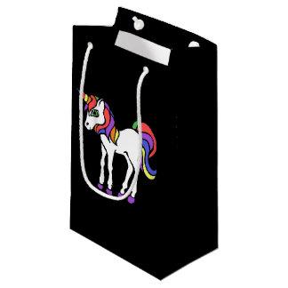 Cute retro rainbow unicorn small gift bag
